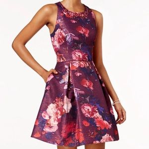 Adrianna Papell Floral Print Embellished Dress NWT